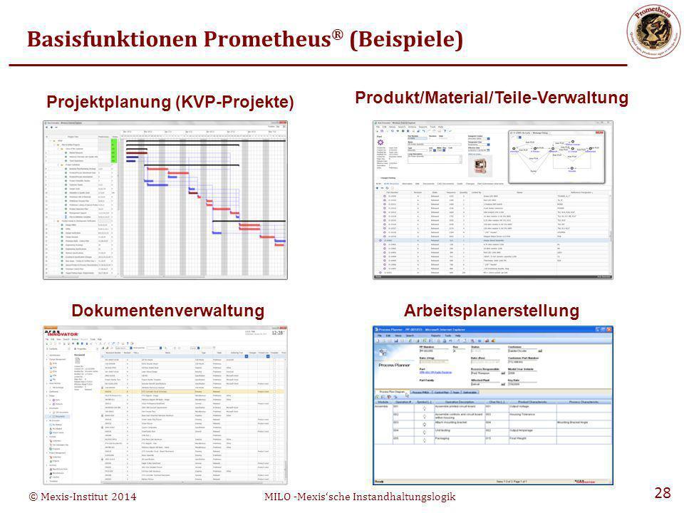 © Mexis-Institut 2014MILO -Mexis'sche Instandhaltungslogik 28 Basisfunktionen Prometheus ® (Beispiele) Projektplanung (KVP-Projekte) Produkt/Material/Teile-Verwaltung DokumentenverwaltungArbeitsplanerstellung
