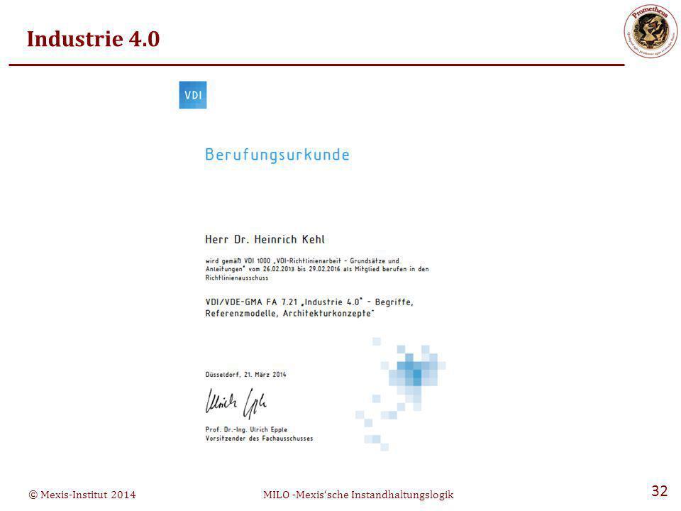 © Mexis-Institut 2014MILO -Mexis'sche Instandhaltungslogik 32 Industrie 4.0