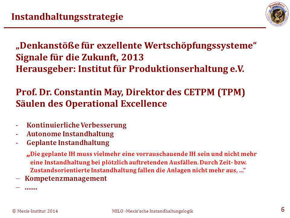 © Mexis-Institut 2014MILO -Mexis'sche Instandhaltungslogik 27 Optimierung