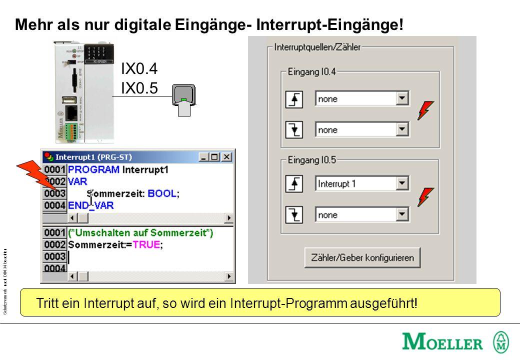 Schutzvermerk nach DIN 34 beachten Mehr als nur digitale Eingänge- Interrupt-Eingänge! IX0.4 IX0.5 Tritt ein Interrupt auf, so wird ein Interrupt-Prog
