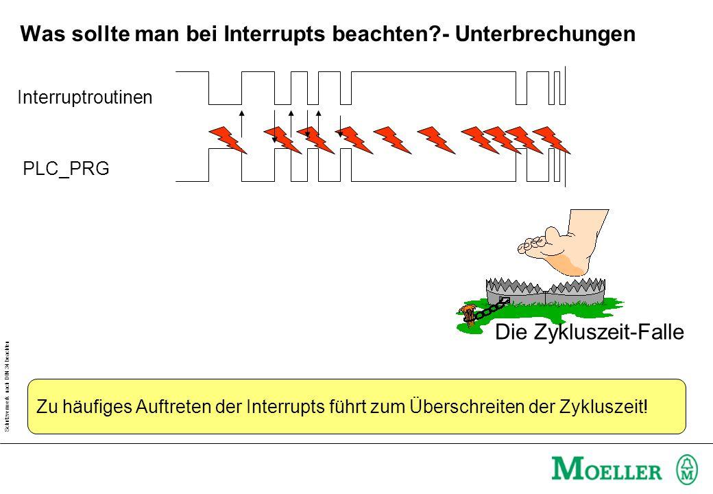 Schutzvermerk nach DIN 34 beachten Was sollte man bei Interrupts beachten?- Unterbrechungen PLC_PRG Interruptroutinen Die Zykluszeit-Falle Zu häufiges