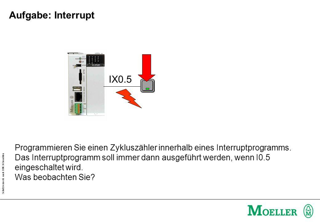 Schutzvermerk nach DIN 34 beachten Aufgabe: Interrupt IX0.5 Programmieren Sie einen Zykluszähler innerhalb eines Interruptprogramms. Das Interruptprog