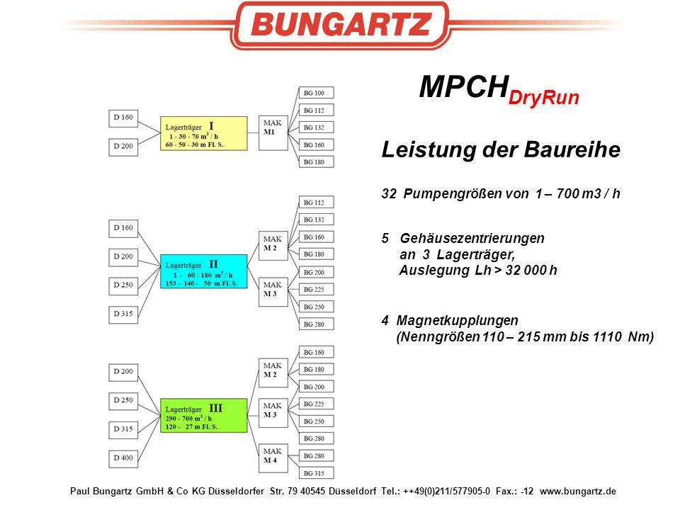 Paul Bungartz GmbH & Co KG Düsseldorfer Str. 79 40545 Düsseldorf Tel.: ++49(0)211/577905-0 Fax.: -12 www.bungartz.de MPCH DryRun Leistung der Baureihe