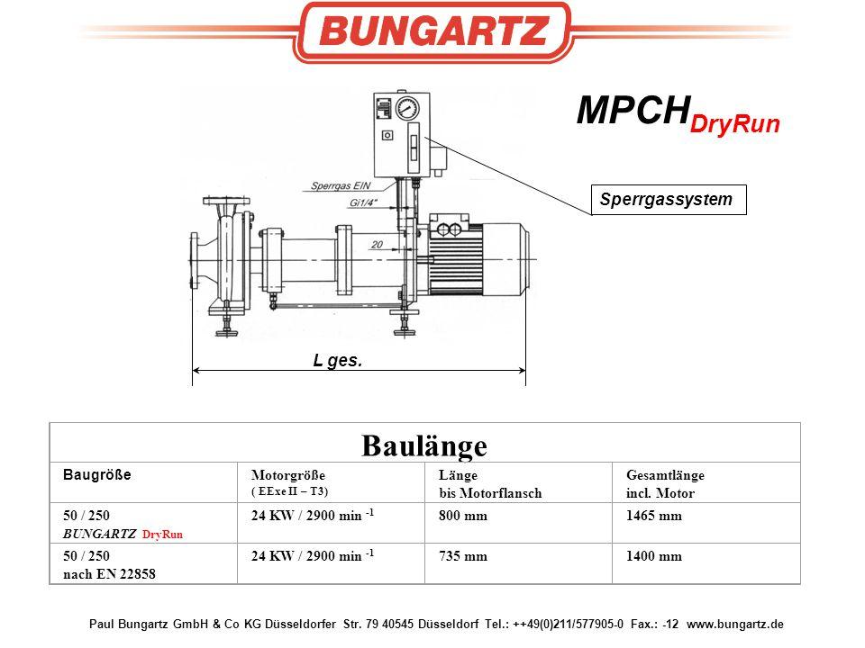 Paul Bungartz GmbH & Co KG Düsseldorfer Str. 79 40545 Düsseldorf Tel.: ++49(0)211/577905-0 Fax.: -12 www.bungartz.de MPCH DryRun Baulänge Baugröße Mot