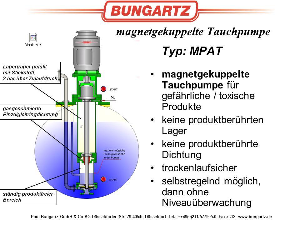 Paul Bungartz GmbH & Co KG Düsseldorfer Str. 79 40545 Düsseldorf Tel.: ++49(0)211/577905-0 Fax.: -12 www.bungartz.de magnetgekuppelte Tauchpumpe Typ: