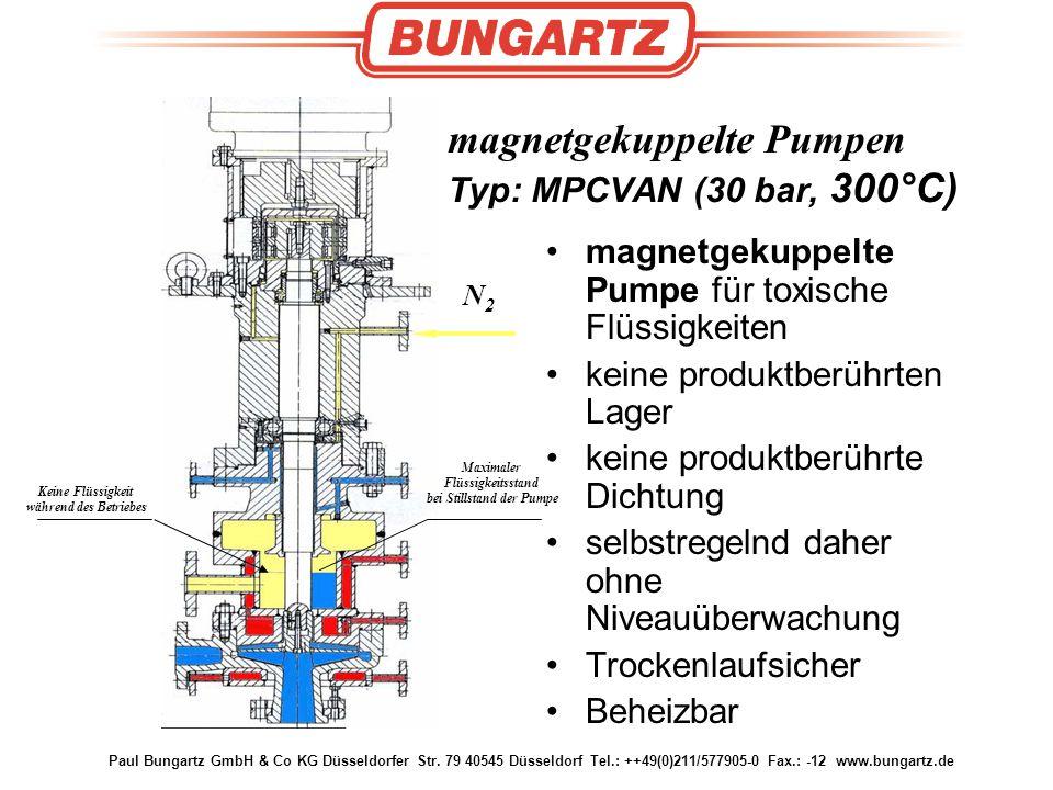 Paul Bungartz GmbH & Co KG Düsseldorfer Str. 79 40545 Düsseldorf Tel.: ++49(0)211/577905-0 Fax.: -12 www.bungartz.de magnetgekuppelte Pumpen Typ: MPCV