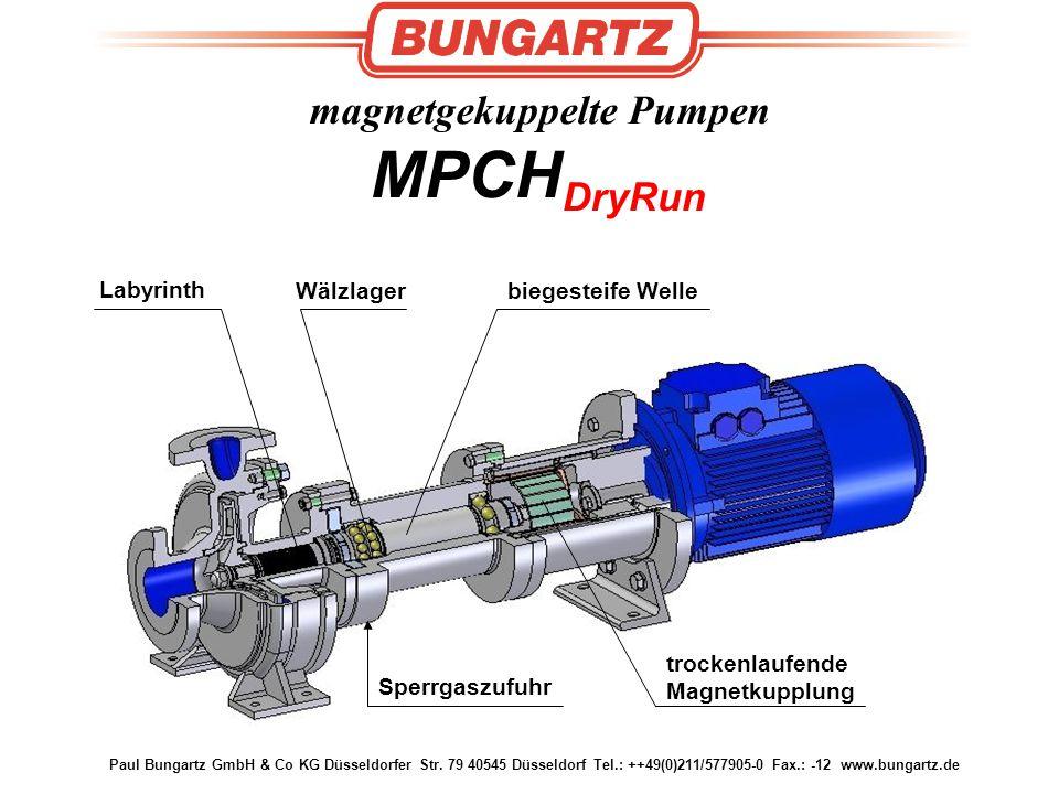 Paul Bungartz GmbH & Co KG Düsseldorfer Str. 79 40545 Düsseldorf Tel.: ++49(0)211/577905-0 Fax.: -12 www.bungartz.de magnetgekuppelte Pumpen MPCH DryR