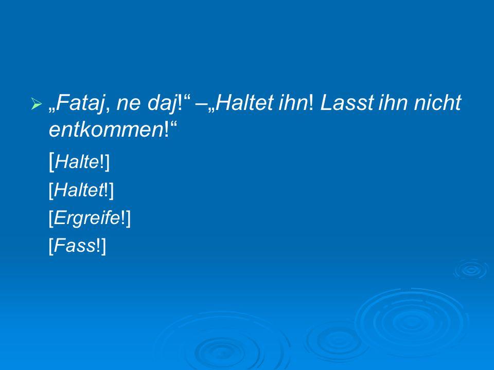 """  """"Fataj, ne daj!"""" –""""Haltet ihn! Lasst ihn nicht entkommen!"""" [ Halte!] [Haltet!] [Ergreife!] [Fass!]"""