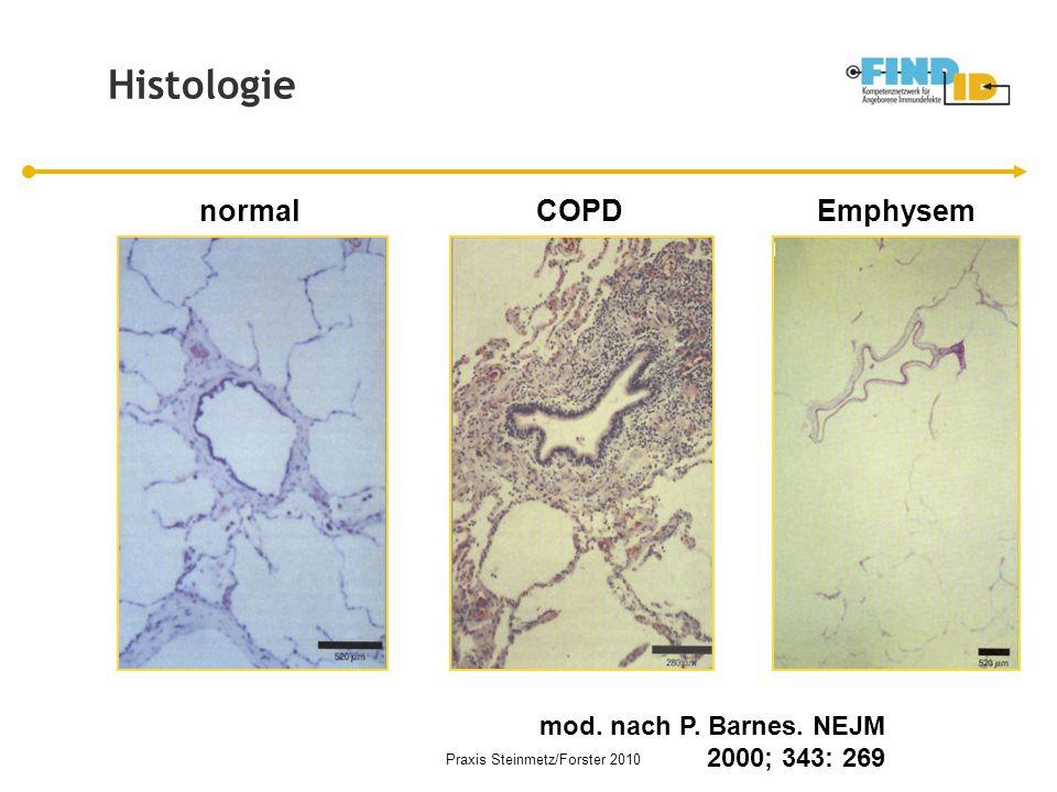 normalCOPDEmphysem mod. nach P. Barnes. NEJM 2000; 343: 269 Histologie Praxis Steinmetz/Forster 2010