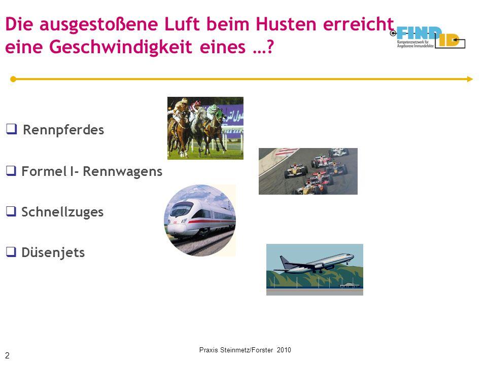 Praxis Steinmetz/Forster 2010 Die ausgestoßene Luft beim Husten erreicht eine Geschwindigkeit eines …?  Rennpferdes  Formel I- Rennwagens  Schnellz