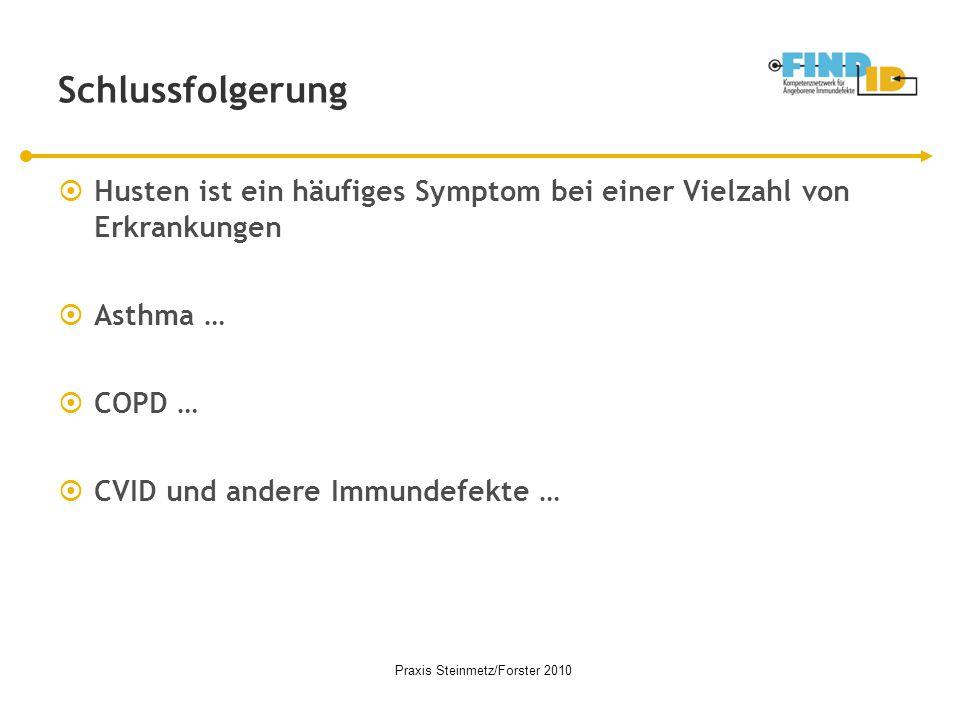 Schlussfolgerung  Husten ist ein häufiges Symptom bei einer Vielzahl von Erkrankungen  Asthma …  COPD …  CVID und andere Immundefekte … Praxis Ste