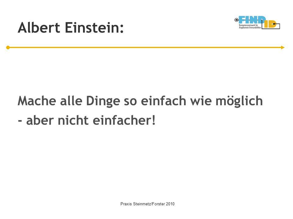 Albert Einstein: Mache alle Dinge so einfach wie möglich - aber nicht einfacher! Praxis Steinmetz/Forster 2010