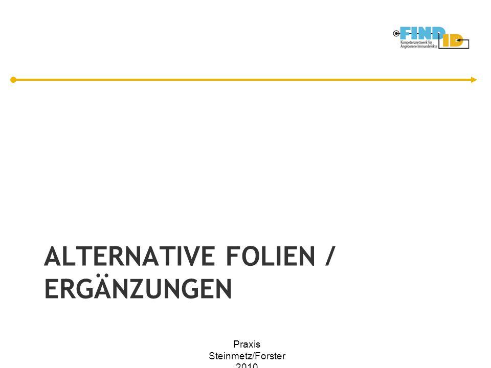 ALTERNATIVE FOLIEN / ERGÄNZUNGEN Praxis Steinmetz/Forster 2010