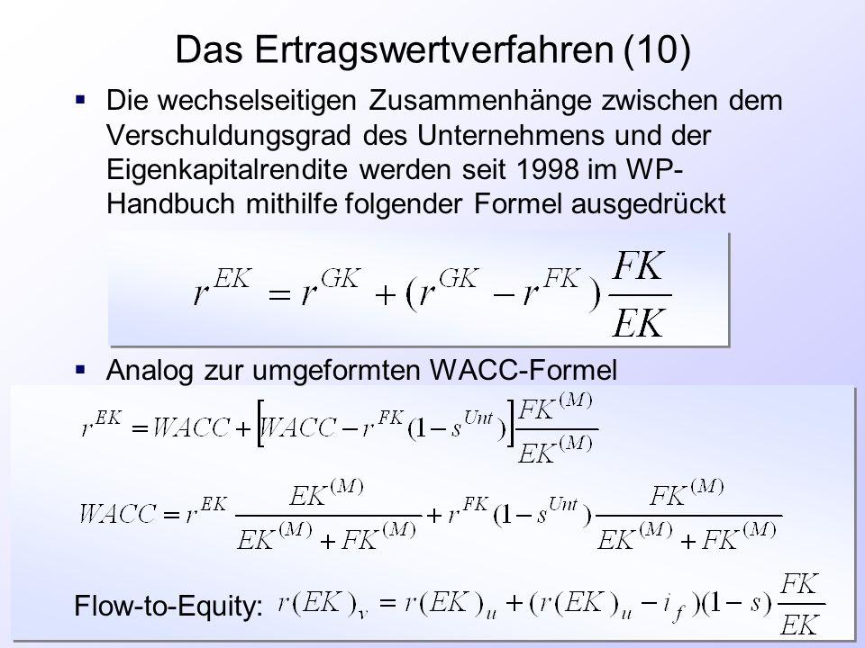 Das Ertragswertverfahren (10)  Die wechselseitigen Zusammenhänge zwischen dem Verschuldungsgrad des Unternehmens und der Eigenkapitalrendite werden s