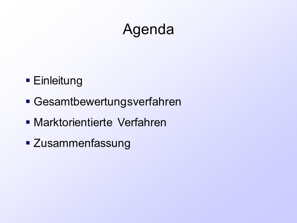 Agenda  Einleitung  Gesamtbewertungsverfahren  Marktorientierte Verfahren  Zusammenfassung