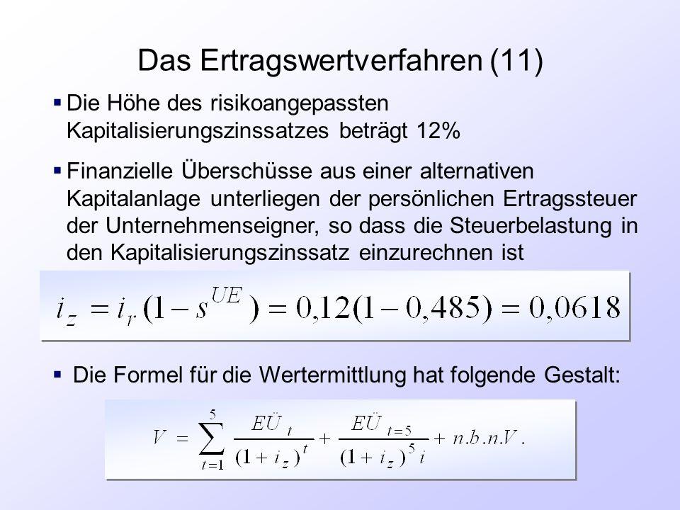 Das Ertragswertverfahren (11)  Die Höhe des risikoangepassten Kapitalisierungszinssatzes beträgt 12%  Finanzielle Überschüsse aus einer alternativen