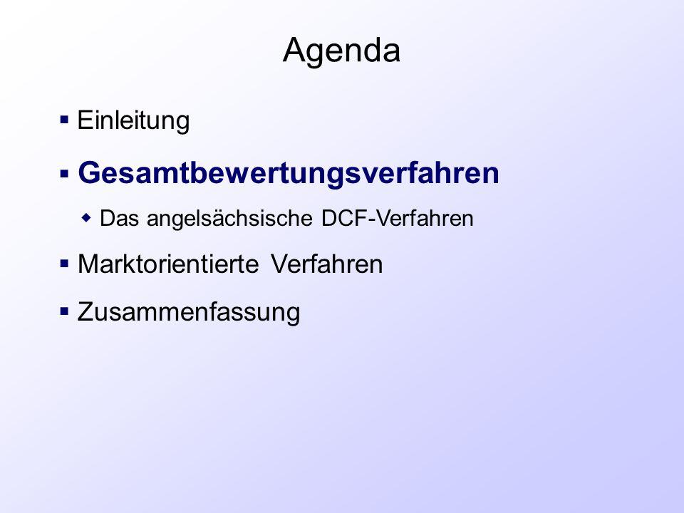 Agenda  Einleitung  Gesamtbewertungsverfahren  Das angelsächsische DCF-Verfahren  Marktorientierte Verfahren  Zusammenfassung