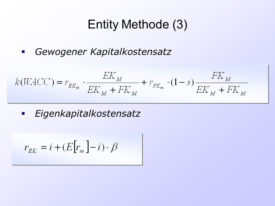 Entity Methode (3)  Eigenkapitalkostensatz  Gewogener Kapitalkostensatz