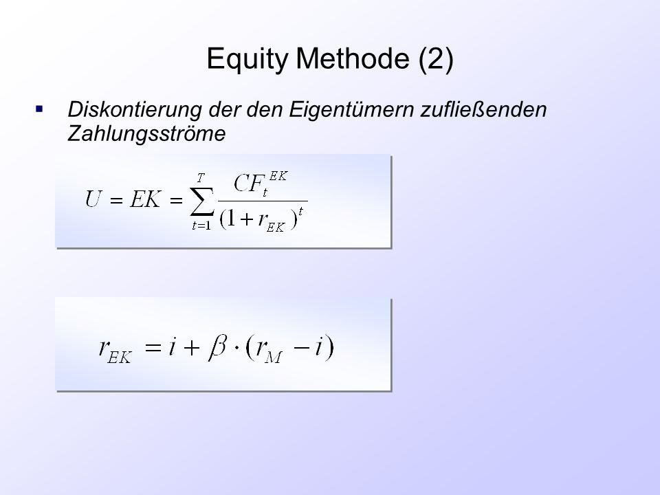 Equity Methode (2)  Diskontierung der den Eigentümern zufließenden Zahlungsströme