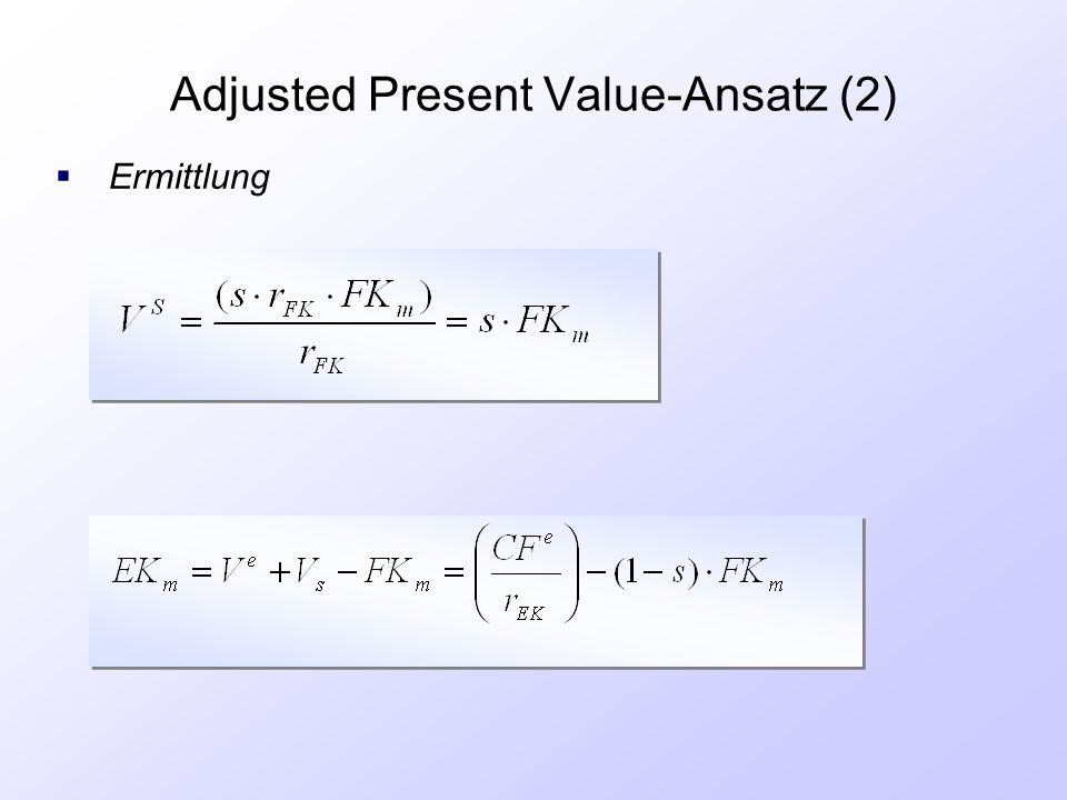 Adjusted Present Value-Ansatz (2)  Ermittlung