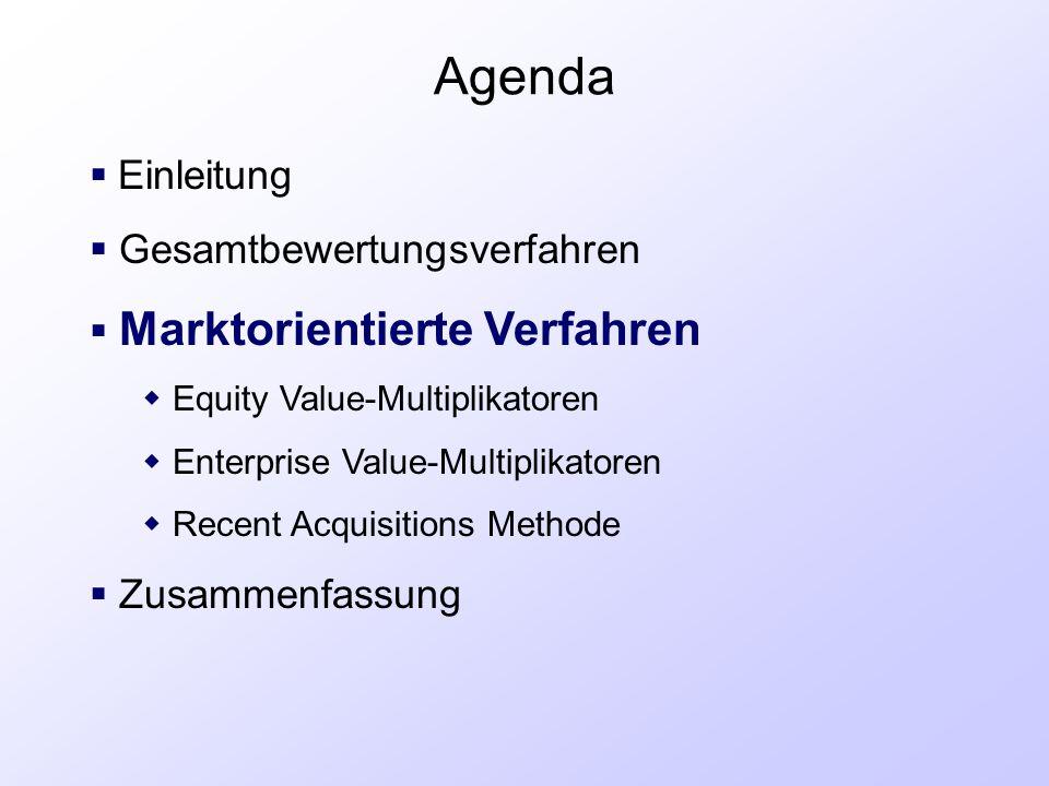 Agenda  Einleitung  Gesamtbewertungsverfahren  Marktorientierte Verfahren  Equity Value-Multiplikatoren  Enterprise Value-Multiplikatoren  Recen