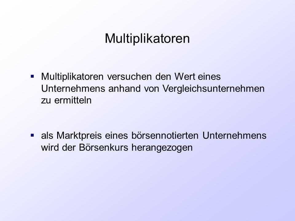 Multiplikatoren  Multiplikatoren versuchen den Wert eines Unternehmens anhand von Vergleichsunternehmen zu ermitteln  als Marktpreis eines börsennot