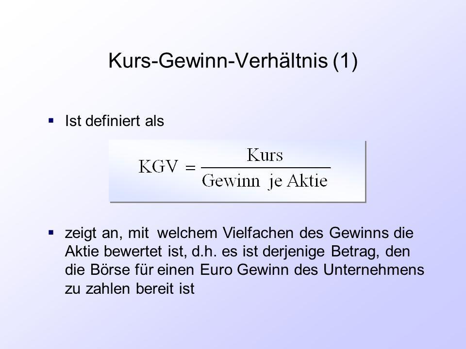 Kurs-Gewinn-Verhältnis (1)  Ist definiert als  zeigt an, mit welchem Vielfachen des Gewinns die Aktie bewertet ist, d.h. es ist derjenige Betrag, de