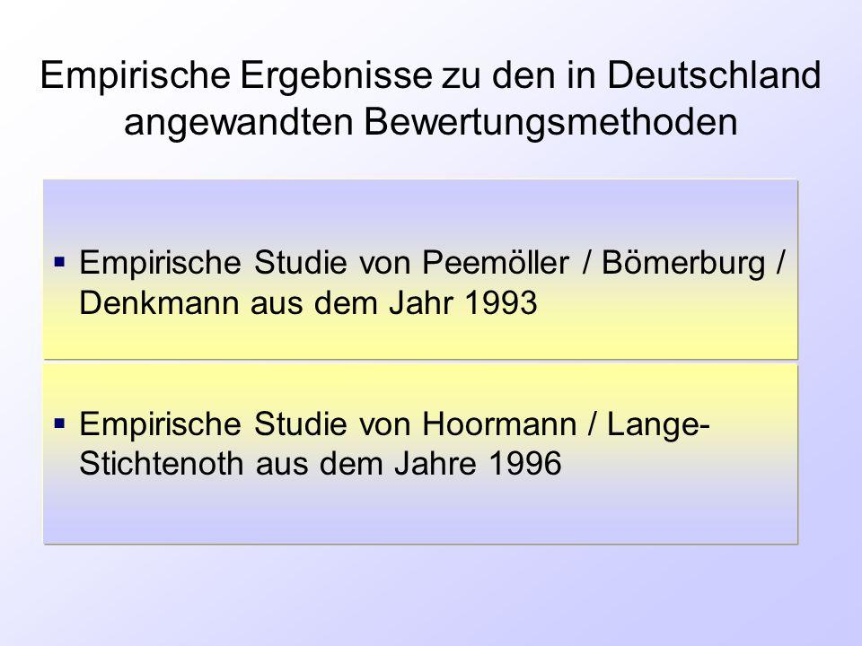 Empirische Ergebnisse zu den in Deutschland angewandten Bewertungsmethoden  Empirische Studie von Peemöller / Bömerburg / Denkmann aus dem Jahr 1993