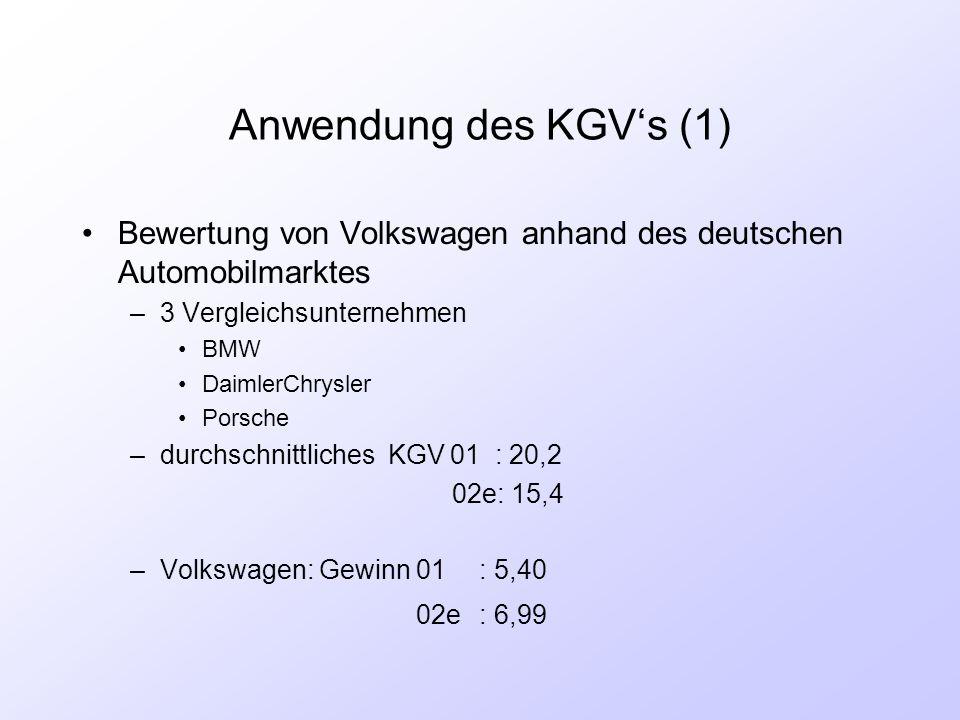Anwendung des KGV's (1) Bewertung von Volkswagen anhand des deutschen Automobilmarktes –3 Vergleichsunternehmen BMW DaimlerChrysler Porsche –durchschn