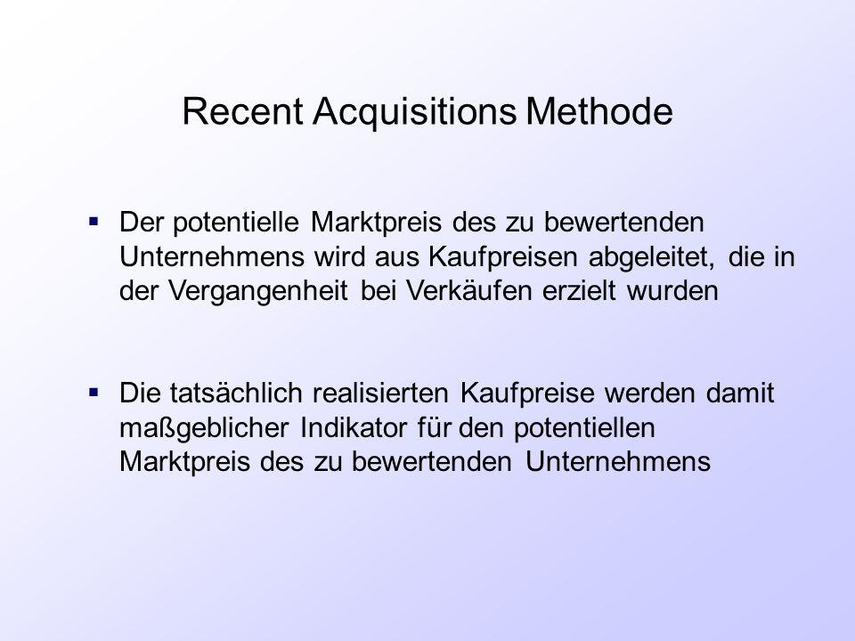 Recent Acquisitions Methode  Der potentielle Marktpreis des zu bewertenden Unternehmens wird aus Kaufpreisen abgeleitet, die in der Vergangenheit bei