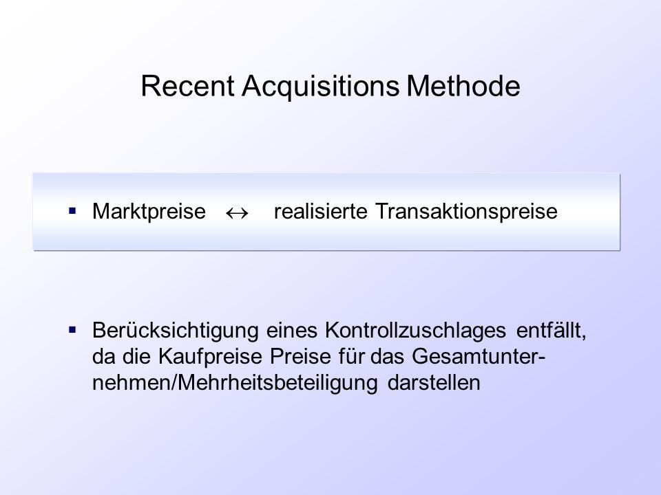 Recent Acquisitions Methode  Marktpreise  realisierte Transaktionspreise  Berücksichtigung eines Kontrollzuschlages entfällt, da die Kaufpreise Pre