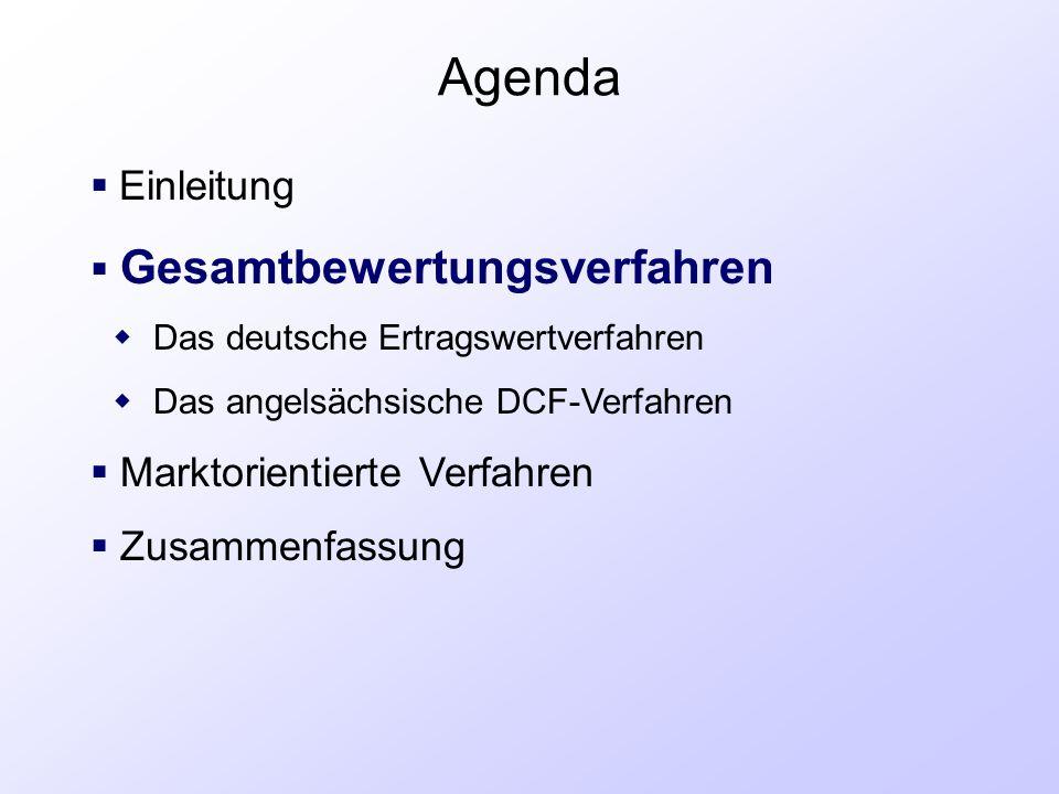 Agenda  Einleitung  Gesamtbewertungsverfahren  Das deutsche Ertragswertverfahren  Das angelsächsische DCF-Verfahren  Marktorientierte Verfahren 