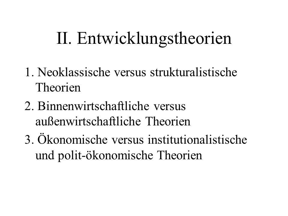 II. Entwicklungstheorien 1. Neoklassische versus strukturalistische Theorien 2. Binnenwirtschaftliche versus außenwirtschaftliche Theorien 3. Ökonomis