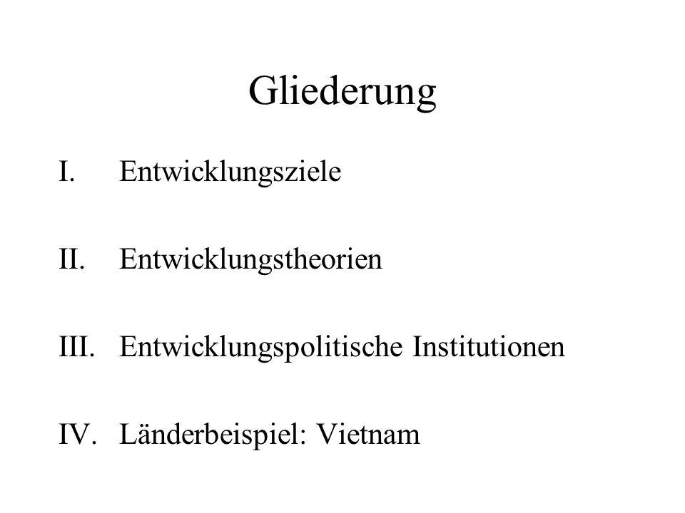Gliederung I.Entwicklungsziele II.Entwicklungstheorien III.Entwicklungspolitische Institutionen IV.Länderbeispiel: Vietnam