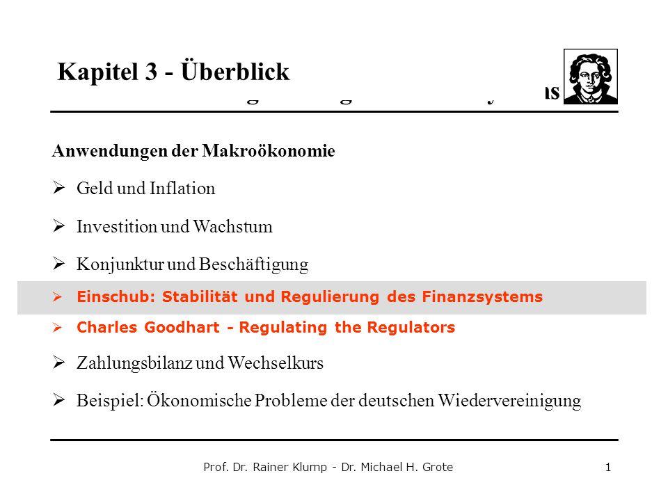 Kapitel 3 - Stabilität und Regulierung des Finanzsystems Prof. Dr. Rainer Klump - Dr. Michael H. Grote1 Anwendungen der Makroökonomie  Geld und Infla