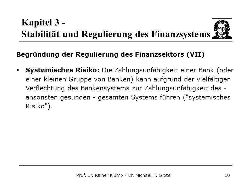 Kapitel 3 - Stabilität und Regulierung des Finanzsystems Prof. Dr. Rainer Klump - Dr. Michael H. Grote10 Begründung der Regulierung des Finanzsektors