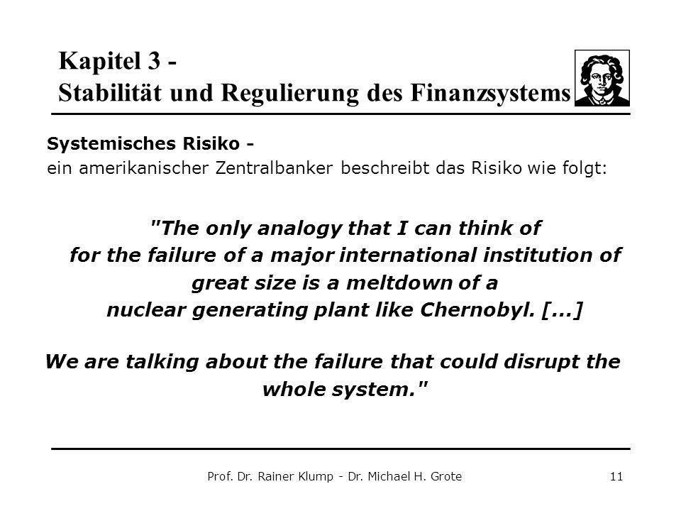 Kapitel 3 - Stabilität und Regulierung des Finanzsystems Prof. Dr. Rainer Klump - Dr. Michael H. Grote11 Systemisches Risiko - ein amerikanischer Zent