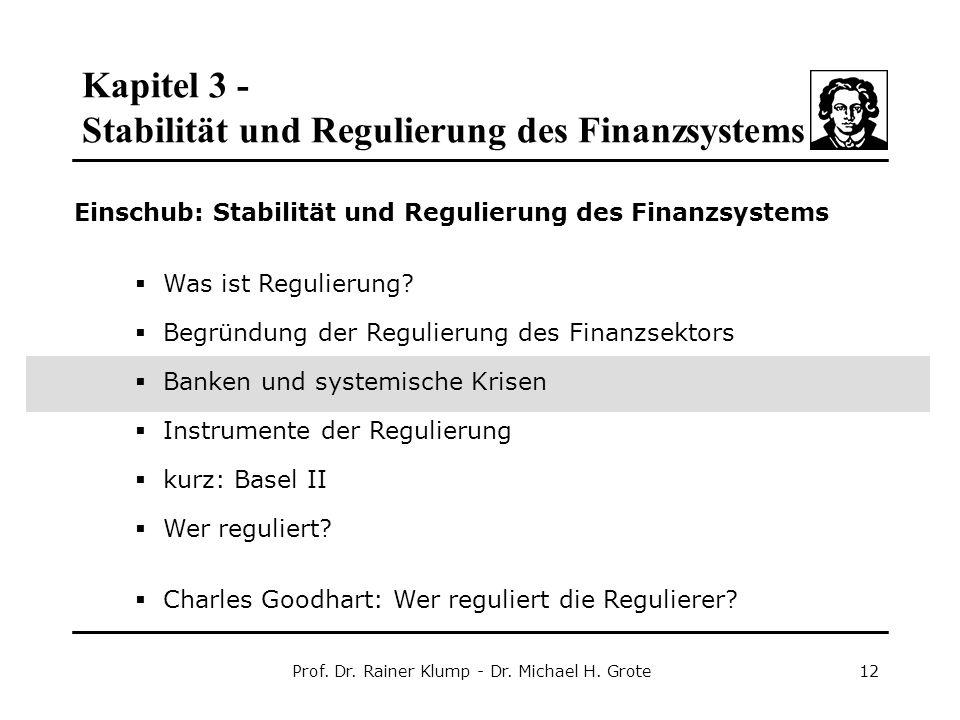 Kapitel 3 - Stabilität und Regulierung des Finanzsystems Prof. Dr. Rainer Klump - Dr. Michael H. Grote12 Einschub: Stabilität und Regulierung des Fina