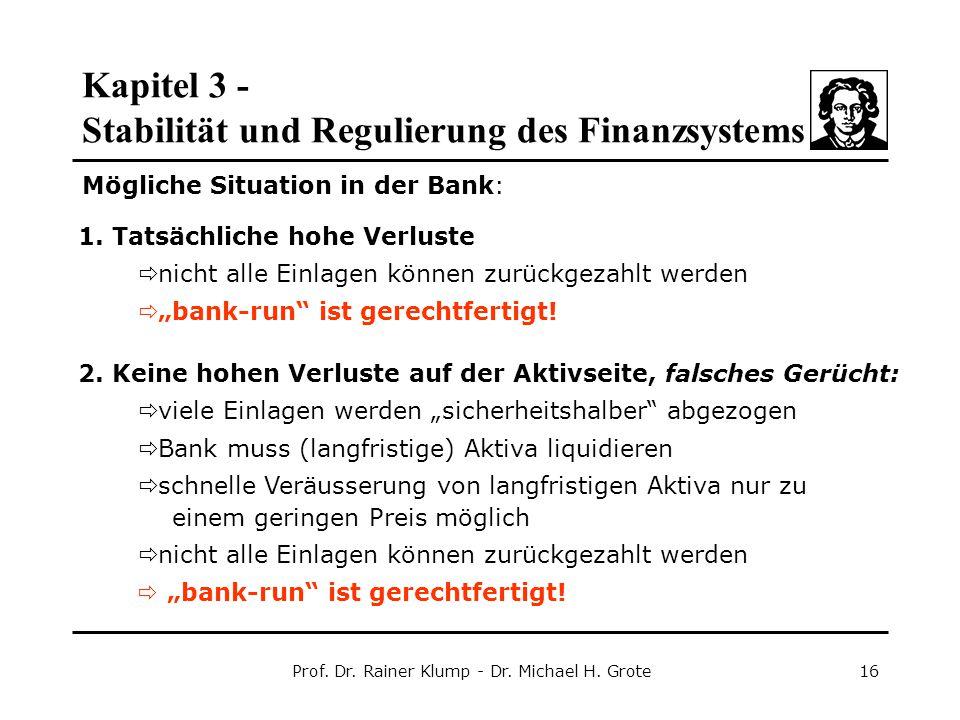 Kapitel 3 - Stabilität und Regulierung des Finanzsystems Prof. Dr. Rainer Klump - Dr. Michael H. Grote16 1. Tatsächliche hohe Verluste  nicht alle Ei