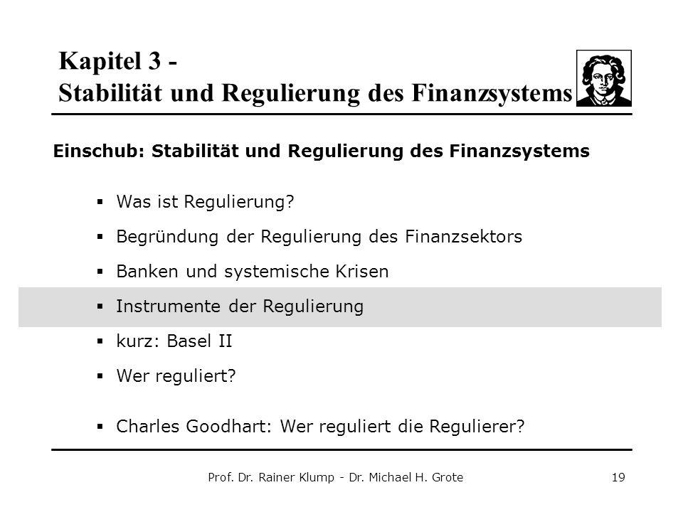 Kapitel 3 - Stabilität und Regulierung des Finanzsystems Prof. Dr. Rainer Klump - Dr. Michael H. Grote19 Einschub: Stabilität und Regulierung des Fina