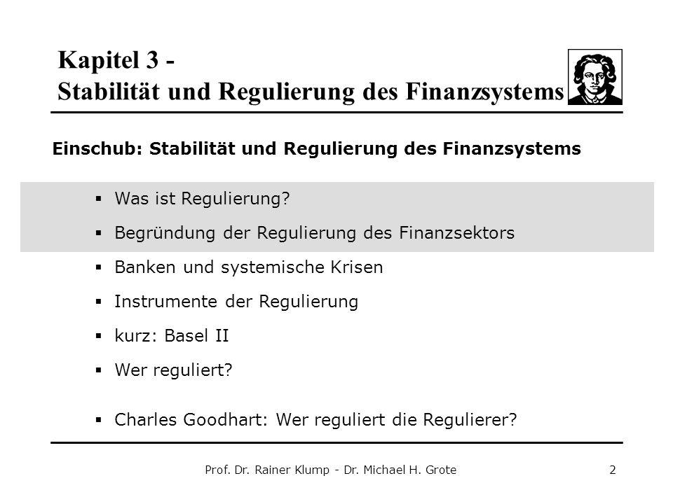 Kapitel 3 - Stabilität und Regulierung des Finanzsystems Prof. Dr. Rainer Klump - Dr. Michael H. Grote2 Einschub: Stabilität und Regulierung des Finan