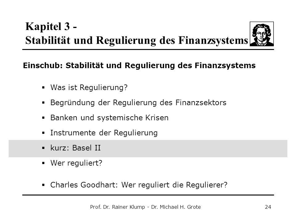 Kapitel 3 - Stabilität und Regulierung des Finanzsystems Prof. Dr. Rainer Klump - Dr. Michael H. Grote24 Einschub: Stabilität und Regulierung des Fina