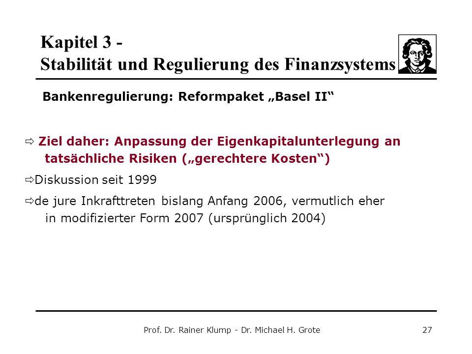 Kapitel 3 - Stabilität und Regulierung des Finanzsystems Prof. Dr. Rainer Klump - Dr. Michael H. Grote27  Ziel daher: Anpassung der Eigenkapitalunter