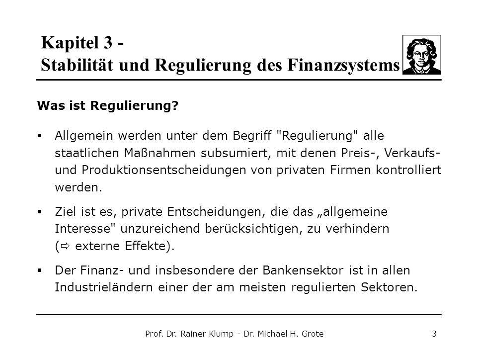 Kapitel 3 - Stabilität und Regulierung des Finanzsystems Prof. Dr. Rainer Klump - Dr. Michael H. Grote3 Was ist Regulierung?  Allgemein werden unter