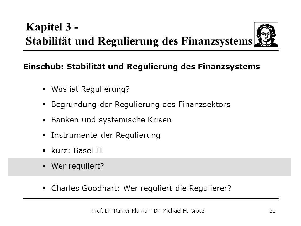 Kapitel 3 - Stabilität und Regulierung des Finanzsystems Prof. Dr. Rainer Klump - Dr. Michael H. Grote30 Einschub: Stabilität und Regulierung des Fina