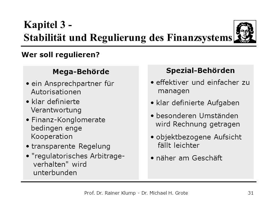 Kapitel 3 - Stabilität und Regulierung des Finanzsystems Prof. Dr. Rainer Klump - Dr. Michael H. Grote31 Wer soll regulieren? Mega-Behörde  ein Anspr