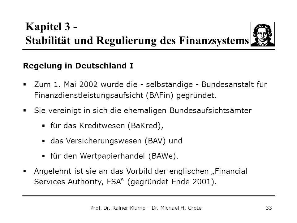 Kapitel 3 - Stabilität und Regulierung des Finanzsystems Prof. Dr. Rainer Klump - Dr. Michael H. Grote33 Regelung in Deutschland I  Zum 1. Mai 2002 w