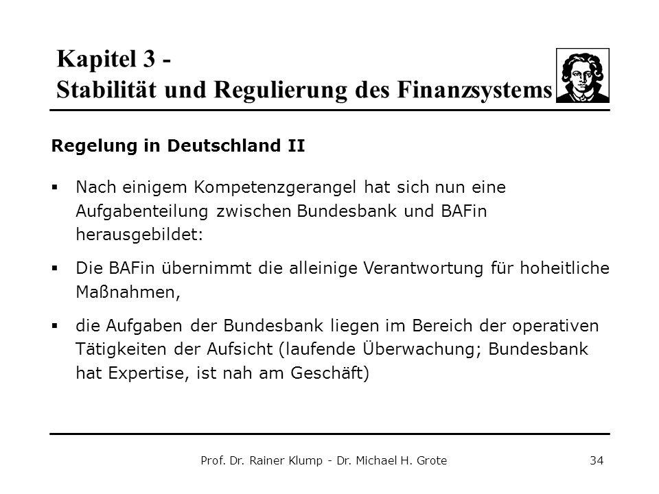 Kapitel 3 - Stabilität und Regulierung des Finanzsystems Prof. Dr. Rainer Klump - Dr. Michael H. Grote34 Regelung in Deutschland II  Nach einigem Kom