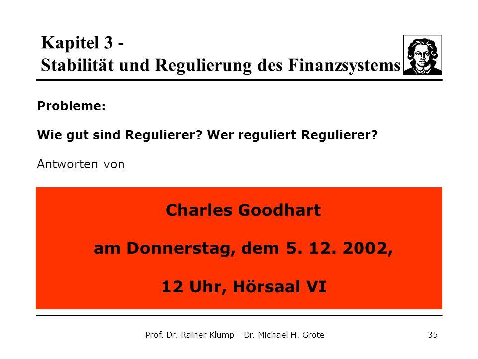 Kapitel 3 - Stabilität und Regulierung des Finanzsystems Prof. Dr. Rainer Klump - Dr. Michael H. Grote35 Probleme: Wie gut sind Regulierer? Wer reguli