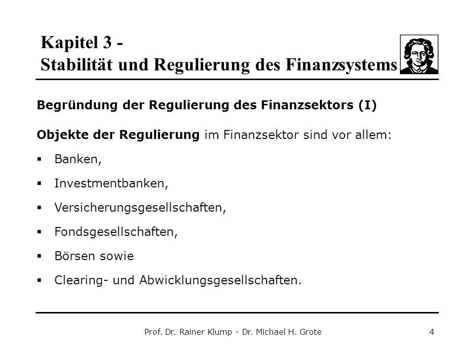 Kapitel 3 - Stabilität und Regulierung des Finanzsystems Prof. Dr. Rainer Klump - Dr. Michael H. Grote4 Begründung der Regulierung des Finanzsektors (